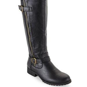 STEVE MADDEN Black Quilla Tall Biker Boots-NIOB